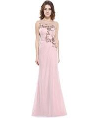 ae085585956e Ever Pretty plesové šaty jemně růžové s krajkou 8850