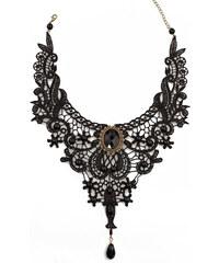 LM moda Náhrdelník antický styl, krajkový černý DL981
