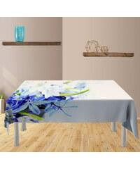 Xdecor Modré a bílé květy (85 x 85 cm) - Dekorační ubrus