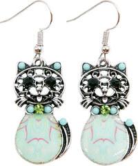 Náušnice etno kočky s patinou a krystalky