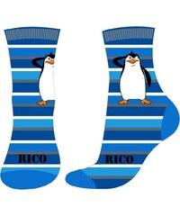 E plus M Chlapecké pruhované ponožky Tučňáci z Madagaskaru - tmavě modré