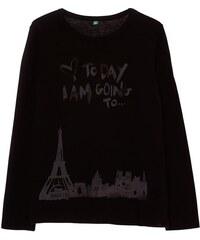 Benetton T-shirt à manches longues en coton - noir