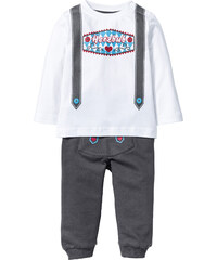 bpc bonprix collection T-shirt bébé à manches longues + pantalon sweat (Ens. 2 pces.) coton bio blanc enfant - bonprix