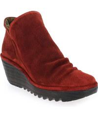 Boots Femme Fly London en Cuir velours Rouge