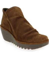Boots Femme Fly London en Cuir velours Camel