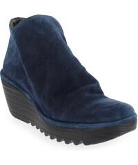 Boots Femme Fly London en Cuir velours Bleu