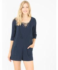 Combi-short à lacets bleu marine, Femme, Taille 34 -PIMKIE- MODE FEMME