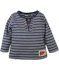 Dirkje Chlapecké pruhované tričko s knoflíčky - modro-bílé