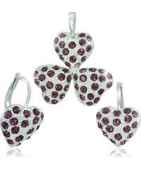 MHM Souprava šperků Srdíčka fialová 34114