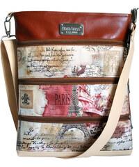 Dara bags Pařížská béžovohnědá crossbody kabelka Dariana Big no. 501 I love Paris