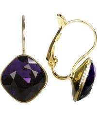 Troli Náušnice Square zlaté Purple Velvet