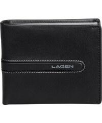 Lagen Pánská černá kožená peněženka Black/Grey 614866-1