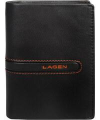 Lagen Pánská hnědá kožená peněženka Brown/Orange 614861-2