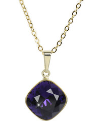 Troli Zlatý náhrdelník Square 12 mm Purple Velvet