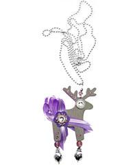 Deers Stříbrný jelínek s fialovou ozdobou Serenada