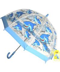 Blooming Brollies Dětský průhledný holový deštník Buggz Kids Stuff Shark BUSHARK
