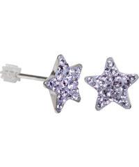 Troli Stříbrné náušnice Star PU10 Violet