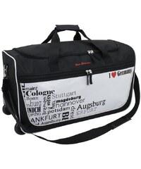 Friedrich Lederwaren Cestovní taška na kolečkách I Love travelling černá/bílá 56061-0-1