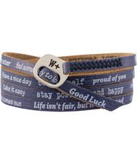 We Positive Tmavě modrý wrap náramek s nápisy 112