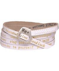 We Positive Bílý wrap náramek se zlatými nápisy 125