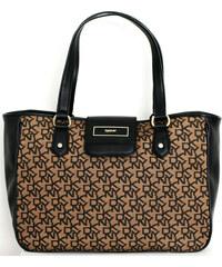 DKNY Elegantní business kabelka Vintage Logo Pug Buckel - hnědá/černá 743410409