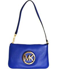 Michael Kors Elegantní kožená kabelka Leather Wristlet modrá/zlatá
