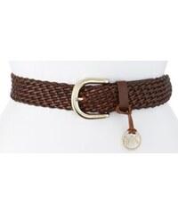 Michael Kors Dámský kožený opasek Braided Leather Belt With Logo Charm