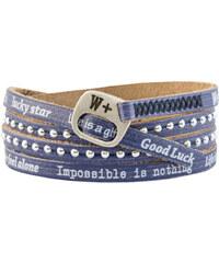 We Positive Tmavě modrý wrap náramek s nápisy HD015