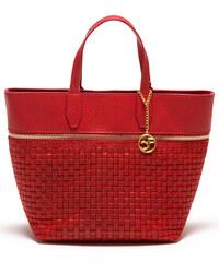 Carla Ferreri Elegantní kožená business kabelka 862 Rosso