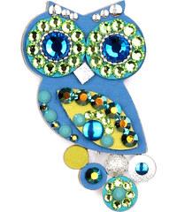 Sovičky Malá soví brož modro-zelená