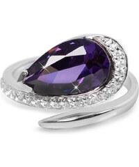 Silver Cat Stříbrný prsten s fialovým krystalem SC133