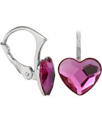 Troli Dívčí stříbrné náušnice Heart Flat Fuchsia