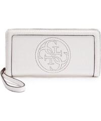 Guess Elegantní peněženka Quattro G Perforated Zip Around White
