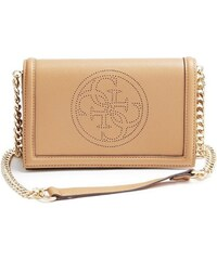 Guess Elegantní crossbody kabelka Quattro G Perforated Cross-body Camel