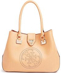 Guess Elegantní kabelka Quattro G Perforated Tote Camel