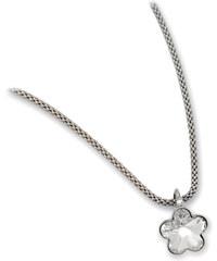 Troli Dívčí stříbrný náhrdelník Flower Crystal