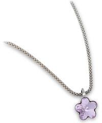 Troli Dívčí stříbrný náhrdelník Flower Violet
