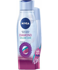 Nivea Dárková sada pro oslňující lesk vlasů šampon 250 ml + kondicionér 200 ml Diamond Volume + gumička