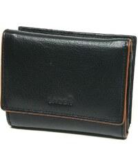 Lagen Dámská kožená peněženka Black/Cognac LM-290507/CN