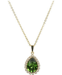 Troli Zlatý štrasový náhrdelník Pear Fern Green