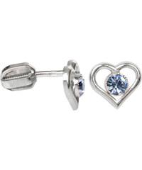 Troli Stříbrné náušnice srdce s krystalem 438 001 00812 04 - světlé modré