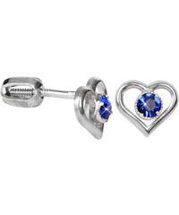 Troli Stříbrné náušnice srdce s krystalem 438 001 00812 04 - modré