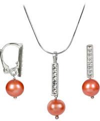 JwL Jewellery Souprava náhrdelníku a náušnic s pravými perlami a krystaly Swarovski Elements JL0144