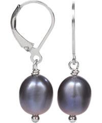 JwL Jewellery Stříbrné náušnice s pravou kovově modrou perlou JL0147