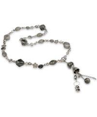 JwL Jewellery Dlouhý náhrdelník s šedým achátem a pravými perlami JL0167