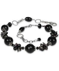 JwL Jewellery Náhrdelník s černým achátem a pravými perlami JL0169