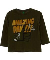Benetton T-shirt à manches longues en coton - kaki
