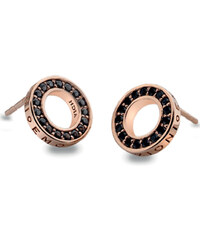Hot Diamonds Stříbrné náušnice Hot Diamonds Emozioni Nero Saturno Rose Gold DE406