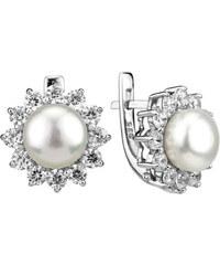 Silvego Stříbrné dámské náušnice s bílou perlou Lucia FNJE0343-CZ
