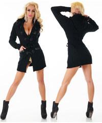 Dámský elegantní dlouhý pletený svetr/kabátek 2242 černá